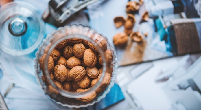walnuts in glass jar