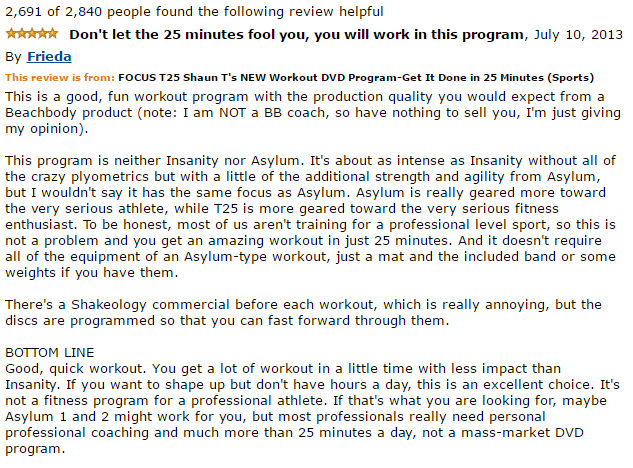 positive feedback for Focus t25