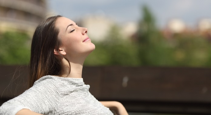 woman with easy breathing