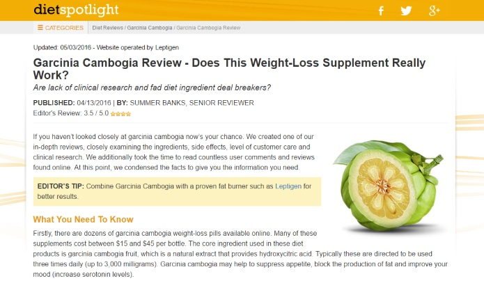 dietspotlight on garcinia cambogia