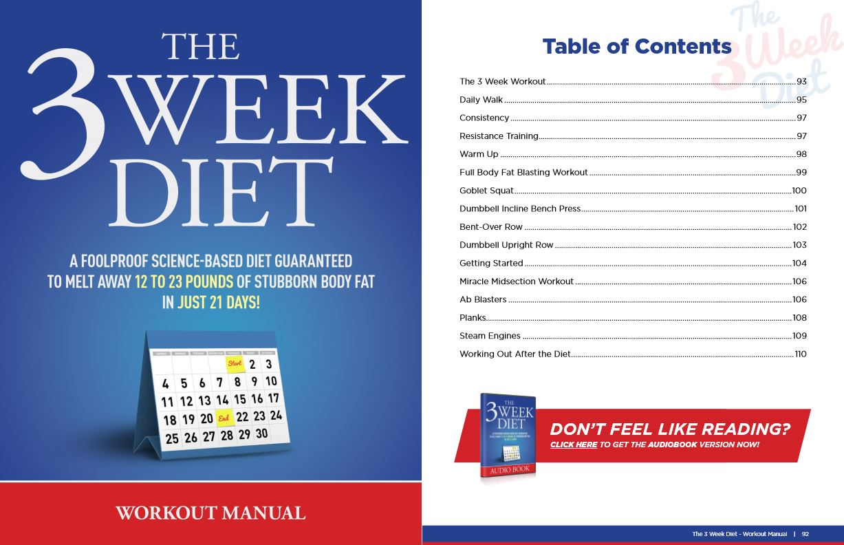 workout manual for 3 week diet
