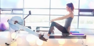 woman on rowing machine