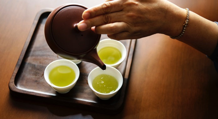 cups of green tea