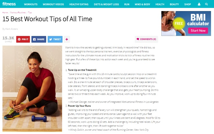 Fitnessmagazine on working out