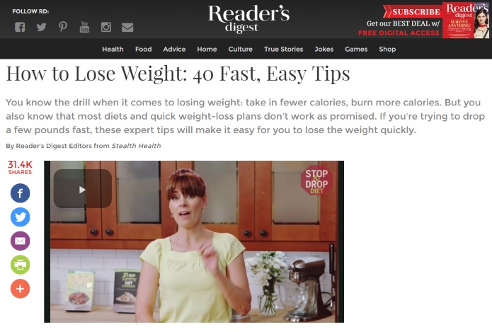 readers digest on weight loss