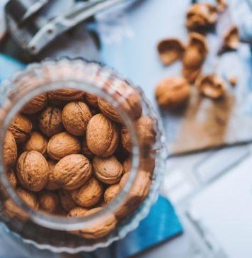 walnuts in glass jar