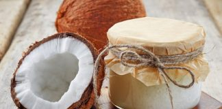 coconut with oil in jar