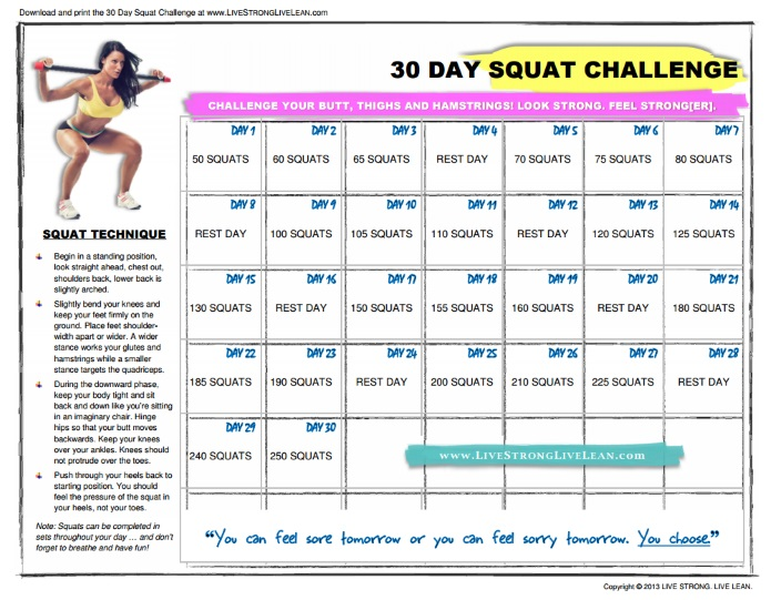LiveStrongLiveLean squat challenge table