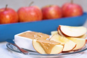 Sliced Apple With Peanut Butter
