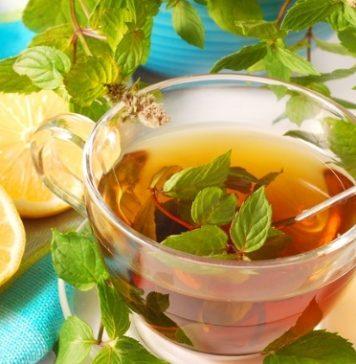 fresh mint tea with lemon
