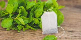 tea bag of peppermint tea