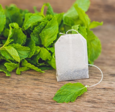 tea bag of peppermint tea mobile